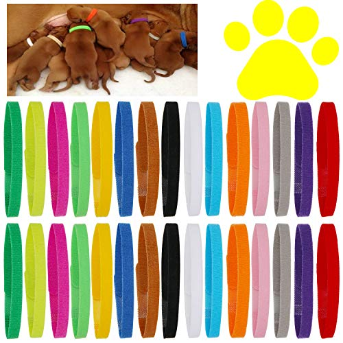 30 Pcs Puppy Whelping Collars Newborn Pet Collars Double-Sided Soft Adjustable ID Bands Puppy Id Collars for Newborn Pet Dog Cat 15 Colors