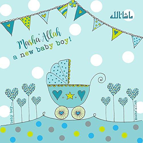 Islamische Glückwunschkarte zur Geburt – Masha Allah ein neuer Baby Junge – blauer Kinderwagen
