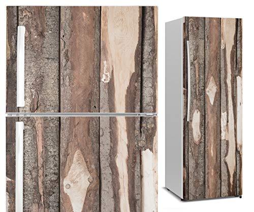 Vinilo para Nevera y Frigorífico | 3D Madera Vintage | Vinilos Adhesivos Decorativos para Muebles del Hogar y Cocina | Impermeable (200 x 60 cm)