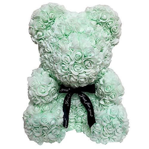 Rose Teddy Bear Valentines Day Gifts for Girlfriend Women Wife Aniversity Decorations Birthdays Valentine's Day (Green, 40CM) Silk Flower Arrangements