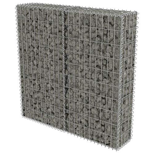 tidyard Gabionenwand Gabionenkorb mit Abdeckung 100 x 20 x 100 cm, aus Verzinkter Stahl, für Stützmauern Gartenzaun
