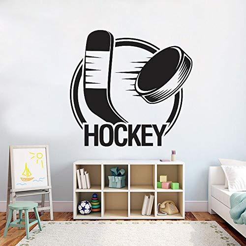 fancjj Hockey Wandtattoo Aufkleber Schlafzimmer Feld Eishockey Sport Zitat Wandaufkleber Team Spiel Mädchen Jungen Teenager Zimmer Dekor