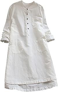 DORIC Vintage Dresses for Women Retro Long Sleeve Casual Loose Button Tops Blouse Mini Shirt Dress