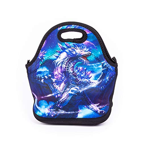 Bolsa de almuerzo para niños, diseño de dragón, reutilizable, con cremallera, para la escuela, picnic, para niños, niñas y niños
