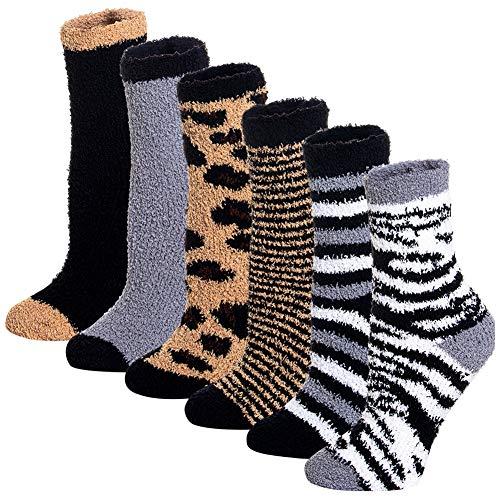 Yoicy Women Christmas Fuzzy Fluffy Socks - Cozy Warm Slipper Bed Socks for Xmas Gift