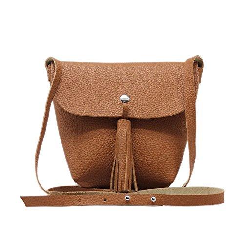 Tom & Eva 6440 mujeres de cuero vegano cuello de la bolsa de embrague en marrón