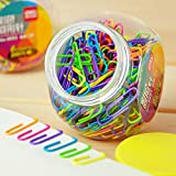 Colored Small Paper Clips Vinyl Coated, Coideal 200 Pack 28mm Assorted Color Mini Paperclips Holder Colorful for School, Office