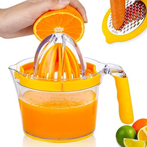 Lemon SqueezerOrange JuicerMultifunctional Lemon Juicer with Builtin Measuring Cup and Grater Egg separatorNonSlip Silicone HandleYTDHLIH Upgrade Citrus Juicer 20OZ