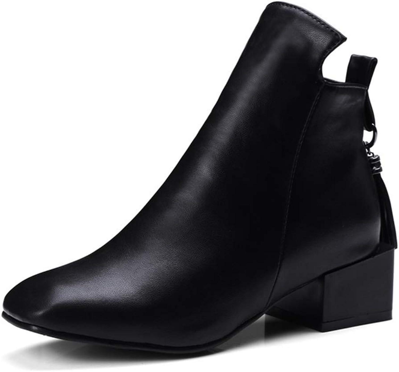GIY Women's Square Toe Chelsea Ankle Boots Fashion Tassel Mid Heel Zipper Western Fringe Short Booties