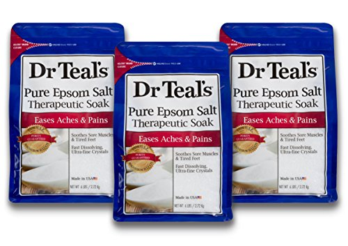 Dr Teal's Epsom Salt Soaking Solution, Pure Unscented, 3 Count - 6lb Bags, 18lbs Total