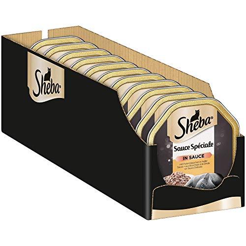 Sheba Sauce Spéciale – Edles Nassfutter mit Putenhäppchen in heller Sauce für ausgewachsene Katzen – 22 x 85g Katzennahrung in der Schale