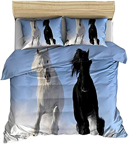 HUA JIE Bed Set Double Bed,Horse Comforter Cover Animal Theme Quilt Wild Duvet Farmhouse Decor Bedding Set For Adult Teens Kids Soft Lightweight Bedspread