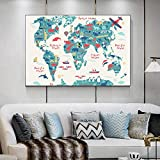 LZASMMVP Cartoon Animal Ocean World Map Canvas Painting Posters and Prints Wall Art Picture for Kids Nursery Room Home Wall Decor|50x75cm No Frame