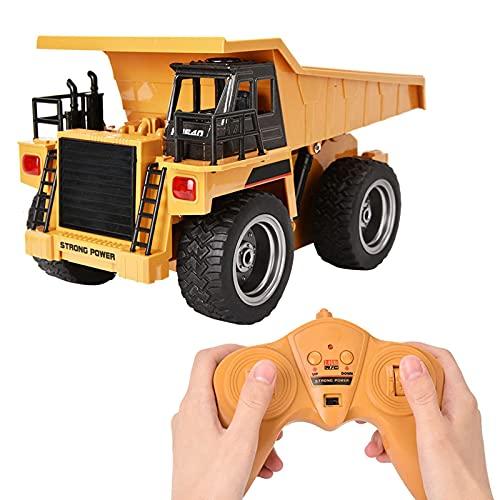 Camión Volquete de Carga Baja Volquete con Control Remoto, 1540 2.4Ghz 6 Canales, Excavadora Electrónica, Vehículo de Ingeniería Control Remoto con Luces de dirección y Efectos de Sonido