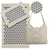 TimeBeeWell Eco-Premium Linen Coconut Acupressure Mat and Pillow Set - Back and Neck Pain Relief -Relieves Stress, Back, Neck, and Sciatic Pain Muscle Relaxant - Comes in a Carry Bag for Storage