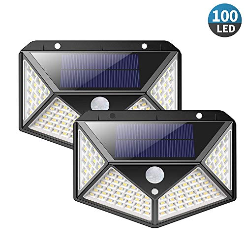 Luz Solar de Exterior, ICONNTECHS 100 LED Impermeable Lámpara Solar de 3-8M Detección, 270º Gran Angular de Iluminación con 120° Sensor de Movimiento, Luces de Seguridad 3 Modos, 2-Pack