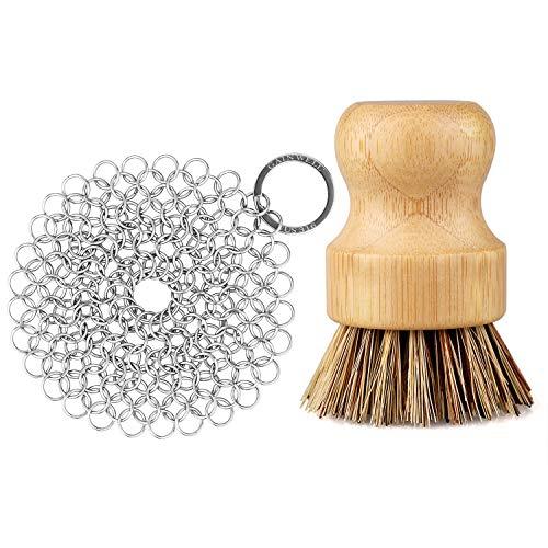 GAINWELL Edelstahl Ringreiniger Reinigungsset Gusseisen-Reiniger 10 cm mit Holz-Reinigungsbürsten
