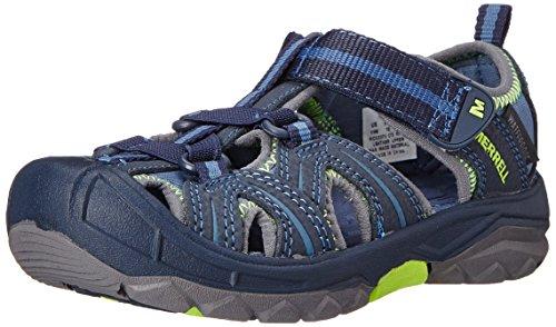 Merrell Kids' Unisex Hydro Sandal, Navy/Green, 2 M US Little Kid