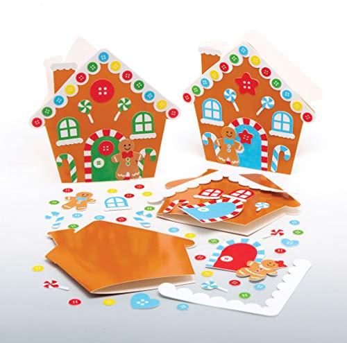 Baker Ross AT186 Weihnachtskarten Lebkuchenhaus Mix & Match (6 Stück) Weihnachten Karten Basteln für Kinder, Sortiert