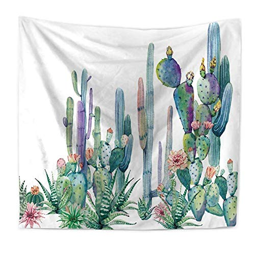 Ruibo Cactus Decor Tapestry Wall Hanging/Watercolor Printed Bedroom Living Room Dorm Wall Hanging Tapestry Beach Throw/Table Runner/Cloth(RB-C-1)(W:79' H:59')