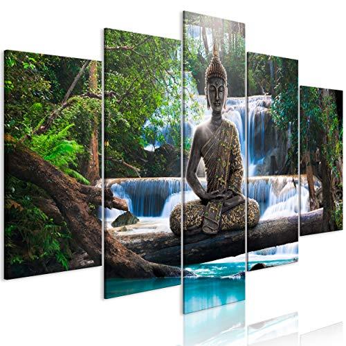 decomonkey | Impression sur Toile intissée Bouddha 200x100 cm | 5 Pieces | Tableau Mural Image sur Toile Photo Images Motif Moderne Décoration tendu sur Chassis Zen Orient Cascade Paysage