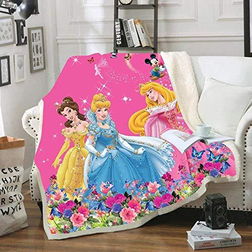 Goplnma-Disney Princess Decke,Cinderella Und Belle Kuscheldecke,Rapunzel Fleece Decke, Ariel Und Jasmin,Übergroße Blanket (150 * 200,4)