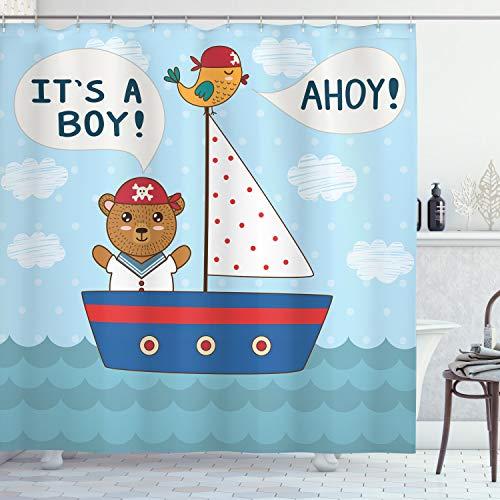 ABAKUHAUS Ahoy Its a Boy Duschvorhang, Baby-Dusche-Bär, mit 12 Ringe Set Wasserdicht Stielvoll Modern Farbfest und Schimmel Resistent, 175x200 cm, Mehrfarbig