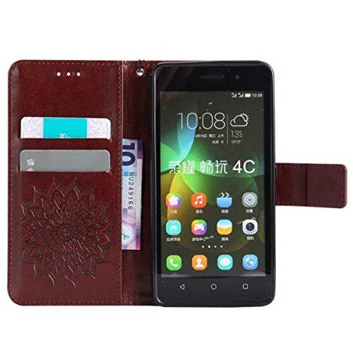 Gift_Source Honor 4C Hülle, Huawei G Play Mini Hülle, [Braun] PU Leder Brieftasche Schutzhülle Lederhülle Tasche Hülle mit Standfunktion Flip case Handyhülle für Huawei Honor 4C/Huawei G Play Mini - 4