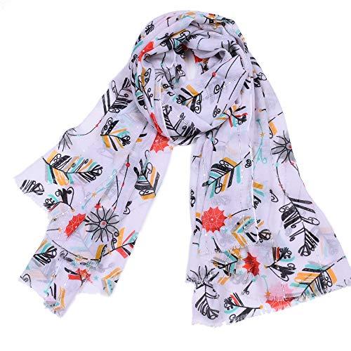 Dhmm123 Bufandas cálidas Moda de la Mujer Impresión de Plumas Bufandas largas Suave Fuerte de algodón de la Borla de la Bufanda del mantón del Abrigo Largo Estola (Color : White)