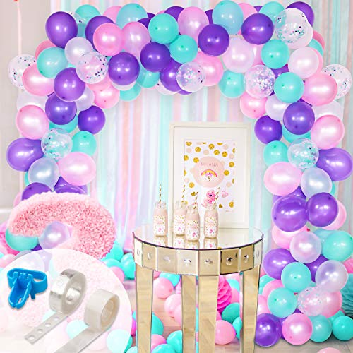 Whaline Mermaid Balloon Arch & Garland Kit, Purple, Pink, Aqua, White and Mermaid Confetti Balloons Set with 16ft Balloon Strip Tape, 1pcs Tying Tool, 100 Glue Point for Wedding Birthday Party Decor