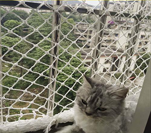 MKXF Anti-Katze Netz, Nylon-Netz, Anti-Fall Net, Pet Flucht Netto, Netto Seilnetz, Balkon Schutznetz, Fensterisolierung,Weiß,3cm*2m*6m