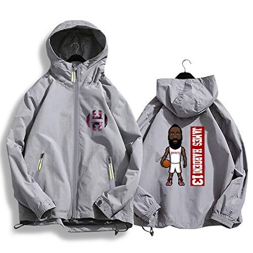 Harden 13 Rockets - Chaqueta de baloncesto con capucha para hombre y mujer, estilo casual, chaqueta de punto gris y XXL