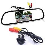 GOFORJUMP Asistencia de estacionamiento de Video automático, Monitor de Espejo retrovisor a Color 4.3'LCD a Color + Cámara de visión Trasera CCD de visión Nocturna Mini