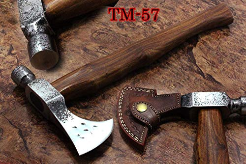 Damascus Depot Hammer Axe, 18 Inches Long High Carbon Steel Voyager Axe with Hammer, Walnut Wood Round Handle Bearded Hiking Battle Axe , Thick Cow Hide Leather Sheath
