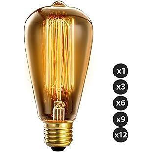 Trellonics® Long-Life Premium Quality Edison Light Bulb Lamps 40 W Watt E27 Screw Squirrel Cage Filament Standard Shaped ST64 CSC Dimmable 40W Vintage, Retro, Rustic, Industrial Lighting - 1 3 6 9 & 12 Packs