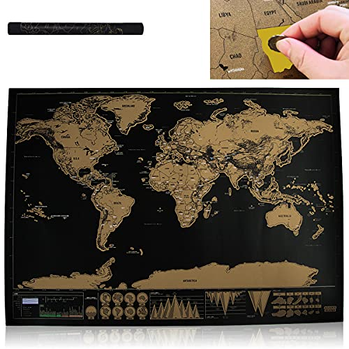 Mapa de Rascar Mundo, ZoneYan Mapa de Viajes & Rascar Mapa, Scratch Map World, Mapas del Mundo para Marcar Viajes, Haciendo Mapas, Como Regalo o Coleccionable