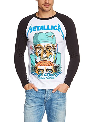 Coole-Fun-T-Shirts Metallica Baseball Longsleeve Crash Course Brain Surgery T-Shirt White, Gr.XXL