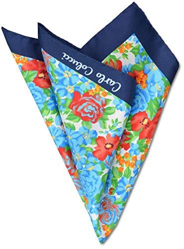 Carlo Colucci - Pañuelo de encaje, diseño floral, color azul, rojo y verde