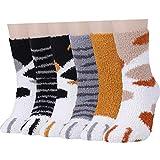 Calcetines Mullidos para Mujer de Invierno y Niñas Súper Suaves y Borrosos para casa con Patrón de Pata, 6 Pares