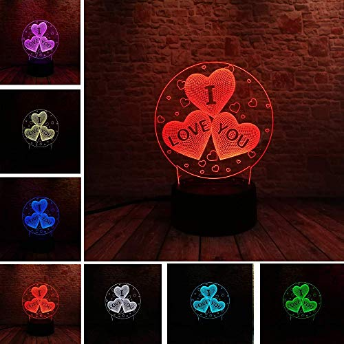 I Love You 3D Balloon Heart-Shaped LED Night Light Romantic Atmosphere Light Lighting Hot Wedding Decoration Couple Gift, Novel Gift