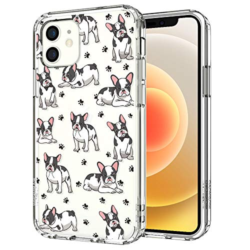 MOSNOVO Cute French Bull Dog Pattern Designed for iPhone 12 Mini Case 5.4 Inch,Clear Case with Design,TPU Bumper with Protective Hard Case Cover