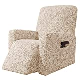 subrtex Stretch Rocking Recliner Silpcover Lazy Boy Chair Covers for Leather and Fabric Sofa with Side Pocket (Linen, Recliner)
