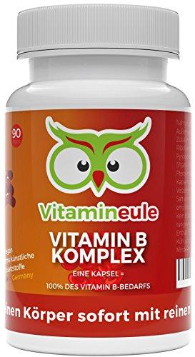 Vitamin B Komplex Kapseln - ohne künstliche Zusätze - Deutsche Qualität - mit B1 B2 B5 B6 B7 B12 Niacin Folsäure - vegane kleine Kapseln statt große Tabletten - hochdosiert - Vitamineule®