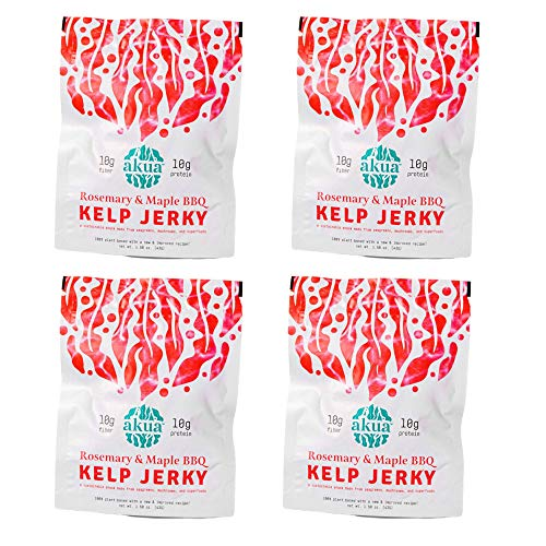 AKUA Kelp Jerky Seaweed Snack | Delicious New Flavor Recipe, Sustainably Ocean-Farmed Kelp | Non-GMO, Gluten-Free, Nutrient Dense, 100% Vegan Jerky (Rosemary & Maple BBQ, 4-Pack)