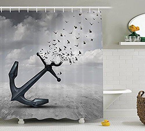 Rideau de douche Qihua avec crochets - Accessoire de salle de bain - En polyester étanche et résistant à la moisissure - 182,9 x 182,9 cm