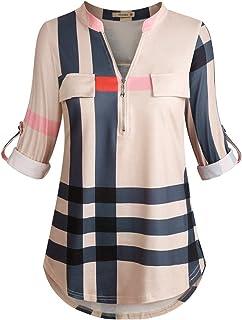 Women's 3/4 Cuffed Sleeve Zipped V Neck Plaid Tunic Shirt...