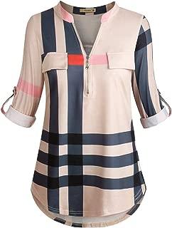 Best plaid v neck blouse Reviews