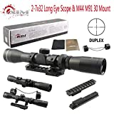 TACFUN AIM Sports Mosin Nagant 2-7x32 Long Eye Relief Scope + M44 M91 30 Scout Mount Package
