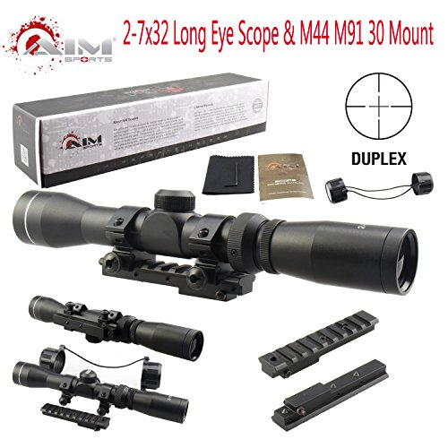 TACFUN AIM Sports Mosin Nagant 2-7x32 Long Eye Relief Scope + M44 M91 30 Scout Mount Package