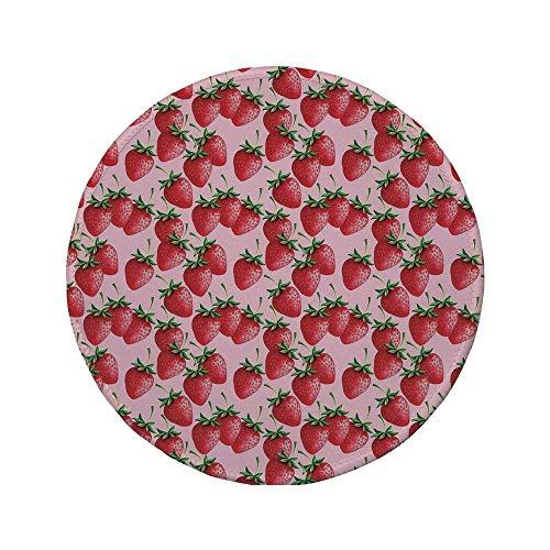 Rutschfreies Gummi-rundes Mauspad rot köstliche große Erdbeeren auf rosa Hintergrund Lecker saftig süß reif Sommerfrüchte rot grün rosa 7,9 'x 7,9' x3 mm